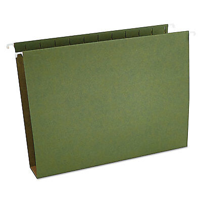 Universal Two Inch Box Bottom Pressboard Hanging Folder Letter Standard Green 25