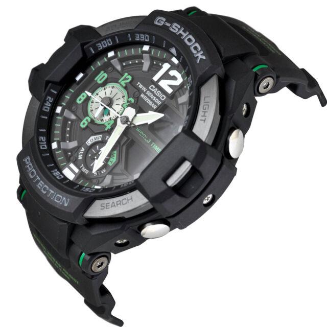 *NEW* CASIO MENS G SHOCK GRAVITY MASTER BLACK GREEN WATCH TWIN SENSOR GA1100-1A3
