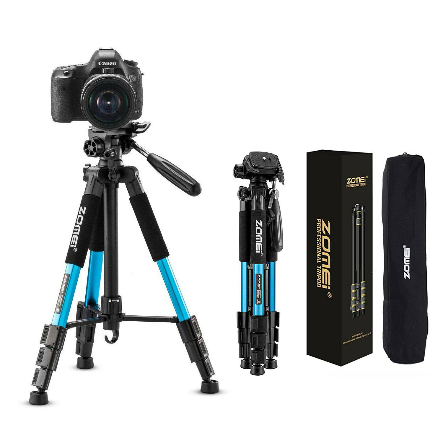 55 Professional Aluminum Alloy Camera Tripod for DSLR Canon Nikon Sony DV Video Camcorder with Carry Bag Red