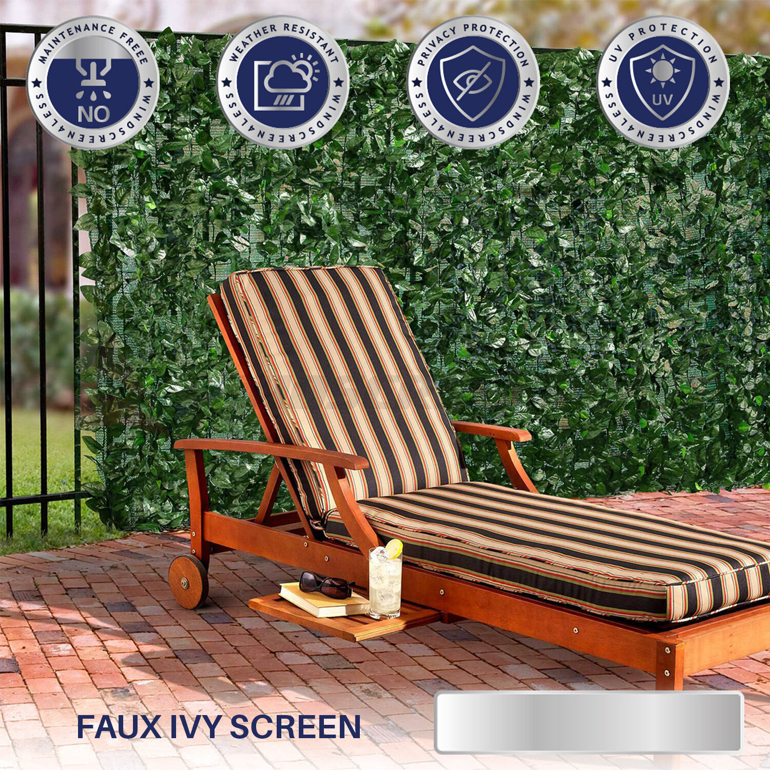 39 h faux ivy leaf privacy fence screen d cor panels for Outdoor privacy fence screen
