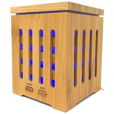 Real Bamboo Essential Oil Ultrasonic Aromatherapy Diffuser 200ml 7 LED Colors US