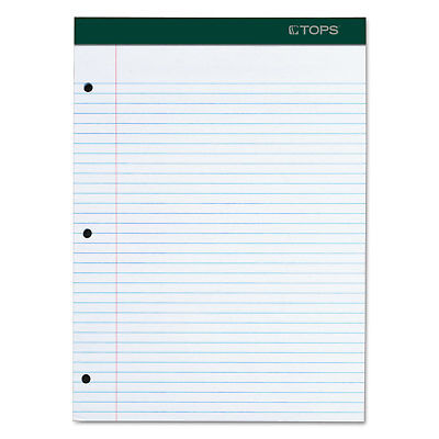 Tops Double Docket Writing Pad 8 12 X 11 34 White 100 Sheets 63384