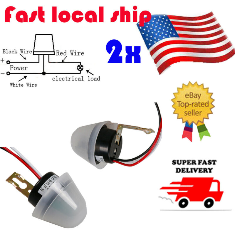 US 2Pc Ajustable AS-20 AC/ DC 12V Photo Sensor Switch Auto On Off Street Light