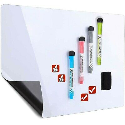 Hivillexun Magnetic Dry Erase White Board Sheet For Fridge - With Stain Resis...