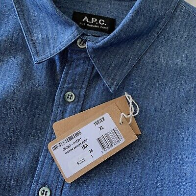 A.P.C. Georges Denim Button Down Shirt Blue XL $235