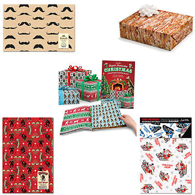 Novelty Christmas Gift Wrap (Choose Your Style) Mustache Bacon Krampus Book - Novelty Gift Wrap