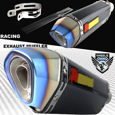 "Slanted Burnt Tip Carbon Look Motorcycle 1.5""-2"" Performance Exhaust Muffler Kit"