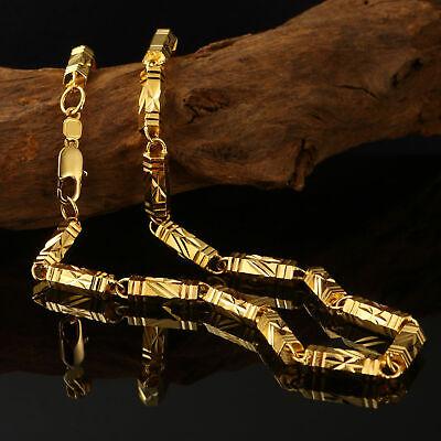 Luxus Goldkette Ketten Herren 6mm Halskette Echt 999er Gold 24K vergoldet 60cm (Halskette Gold)