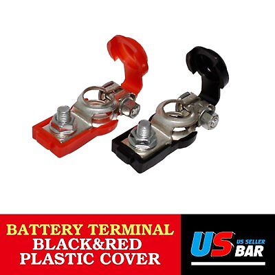 Pair Set of Cars Positive & Negative Battery Terminal W/ Red&Black Plastic Cover
