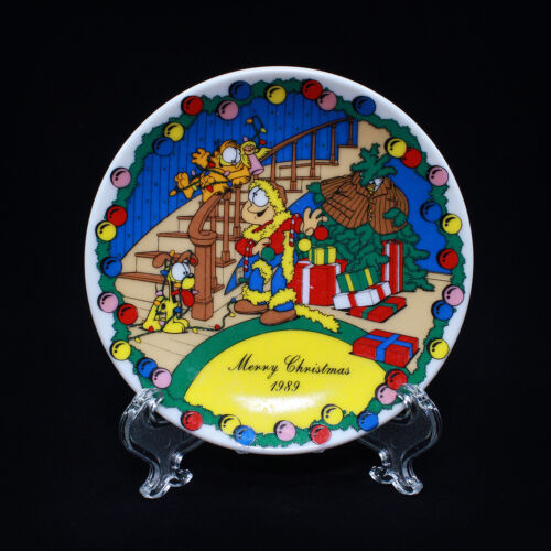 """GARFIELD 1989 Merry Christmas 4"""" Small Collectible Plate by Enesco"""