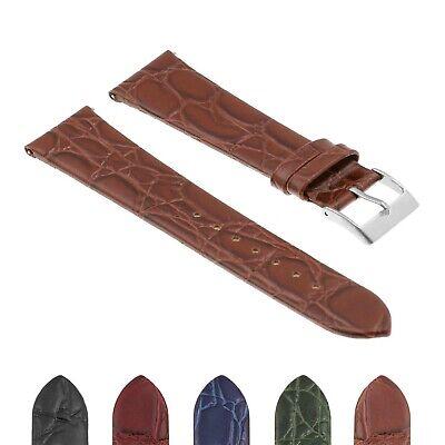 DASSARI Crocodile Embossed Leather Mens Croc Watch Band Strap