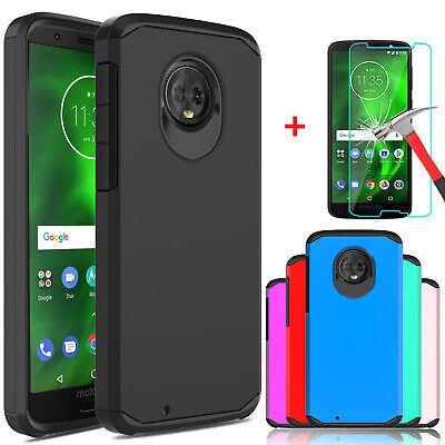 For Motorola Moto G6 Shockproof Armor Case Cover+Tempered Glass Screen Protector ()