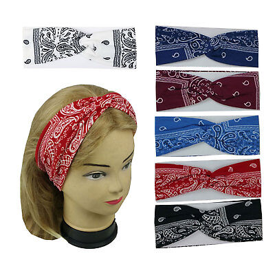 New Paisley Bandana Print Headband Yoga Headband Hair Wrap Twisted Stretchable