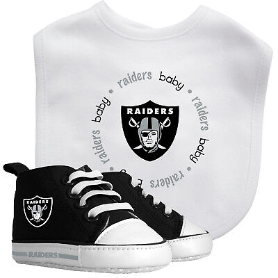 Pre-Walker High-Top Baby Shoes & Bib Set, Infant Fan Gear (Raiders Baby Gear)