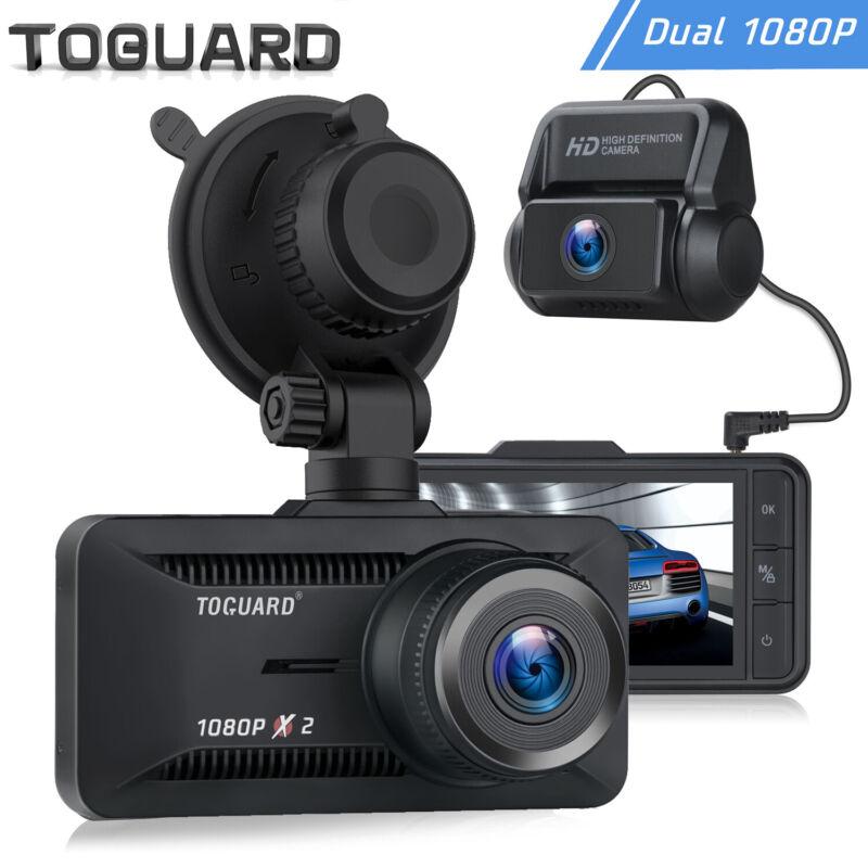 TOGUARD Dual Lens Dash Cam Front+Rear 1080P Dashboard Car Backup Camera Recorder
