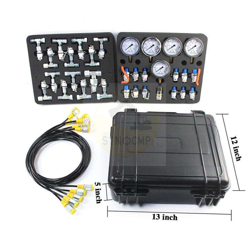 Hydraulic Pressure Gauge Test Kit w/ 5 Gauge 5 Hose 13 Coupling 14 Connectors