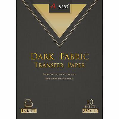 A-sub 10 Sheets Dark Fabric Cotton 8.5x11 Inkjet Iron On Heat Transfer Paper Diy
