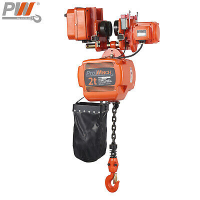 Prowinch 2 Ton Electric Chain Hoist Power Trolley 20 Ft. Fec G80 Japan Chain ...