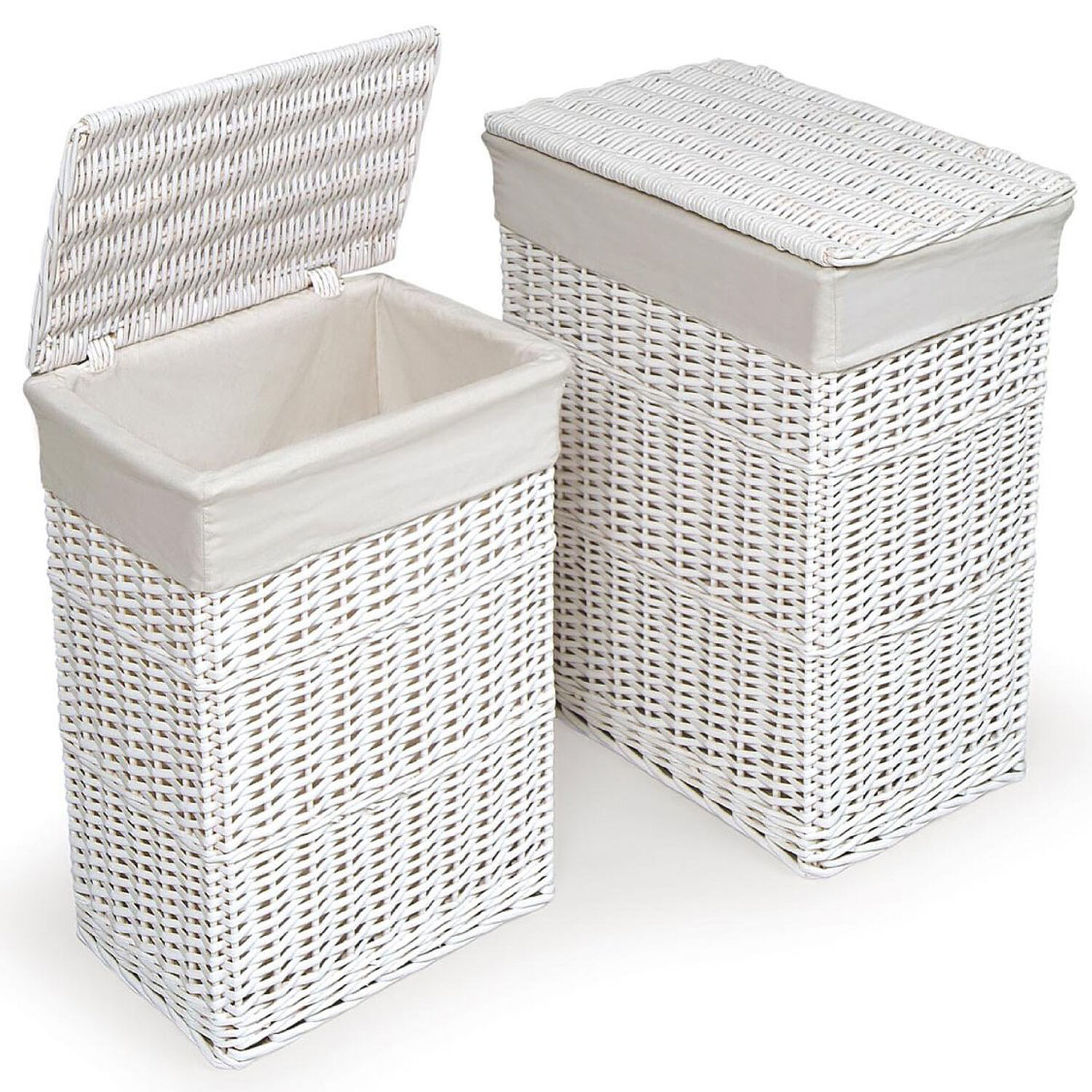Large medium rectangular white wicker laundry basket w White wicker washing basket