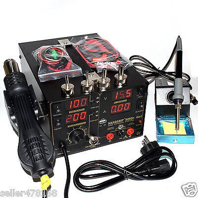 4in1 909d 220v Heat Hot Air Gun Rework Station Soldering Iron Power Supply Usb