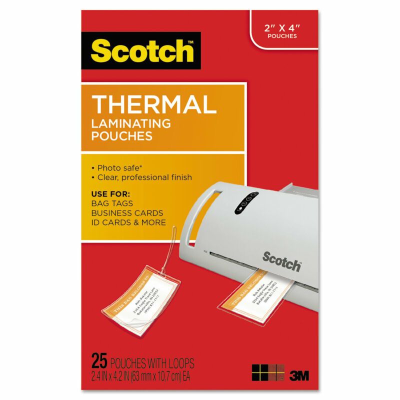 Scotch Luggage Tag Size Thermal Laminating Pouches 5 mil 4 1/5 x 2 1/2 25/Pack