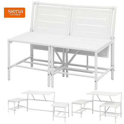 2in1 Sitzbank oder 2 Hocker mit Tisch Balkon Bistro Set Klapptisch Klapstuhl - Bank 2 Hocker