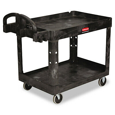 Rubbermaid Commercial Rcp452088bk Heavy-duty Utility Cart 2-shelf - Black