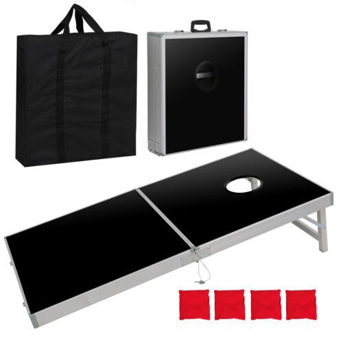 Aluminium Cornhole Pro Regulation Size Bean Bag Toss Game Set (Black) 4 x 2FT Backyard Games