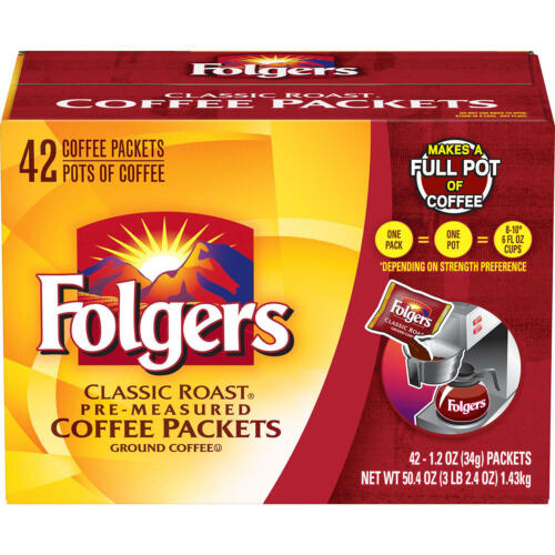 Folgers Classic Roast Ground Coffee Packets (1.2 oz., 42 ct.) FREE SHIPPING