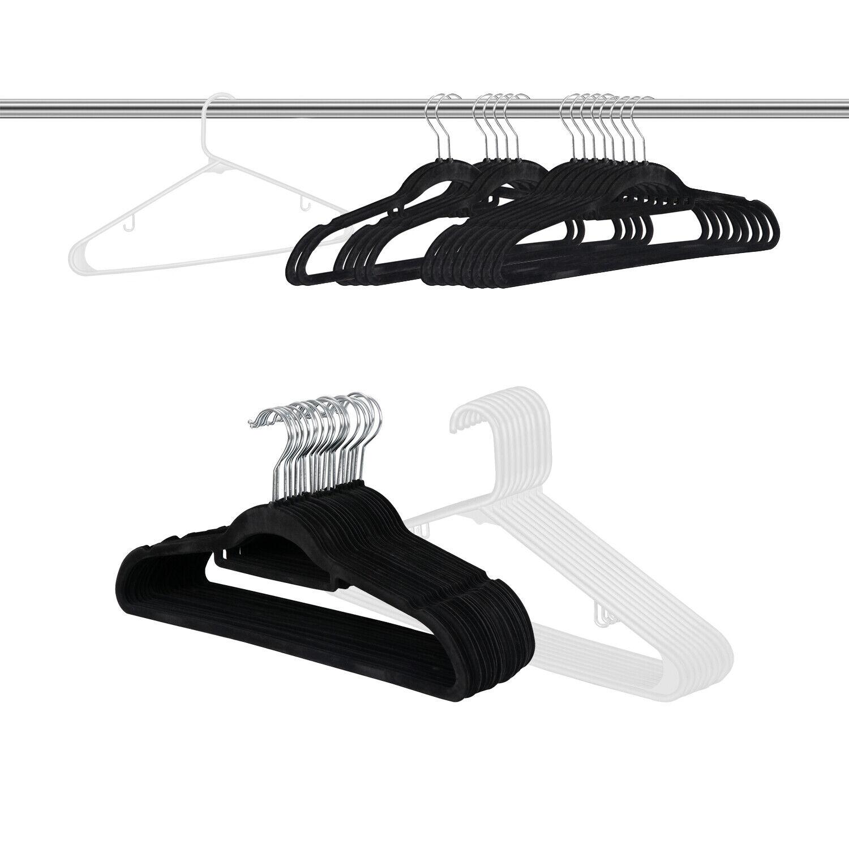 100PCS Velvet Clothes Hangers Durable Plastic Hanger Suit/Shirt/Pants Hangers Clothes Hangers