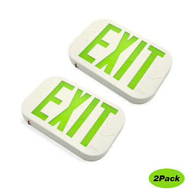 Led Emergency Green Exit Sign Lighting Battery Backup By Ni-cd