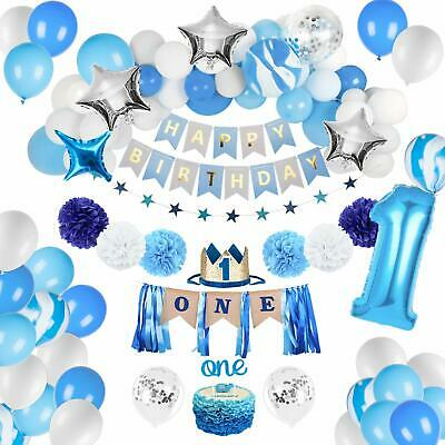First Birthday Boy Decorations (Birthday Decorations Baby Boy 1st birthday Party supplies blue decorations)