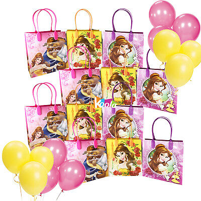 12pcs Belle Beauty and the Beast Party Favor Bags Goodie Candy Gifts w/Balloons (Beauty And The Beast Party)