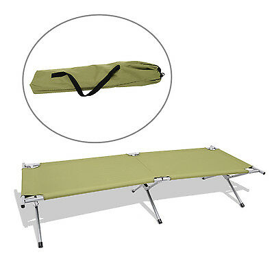 Outdoor Folding Cot Portable Camping Military Hiking Medical Bed Sleeping w/ Bag