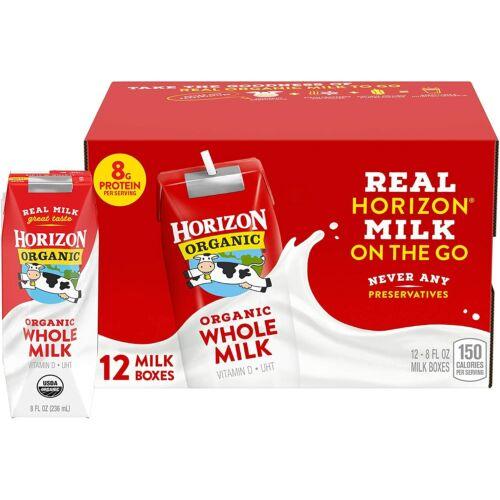 Horizon Organic Whole Milk Single, 8 Fl Oz Pack of 12