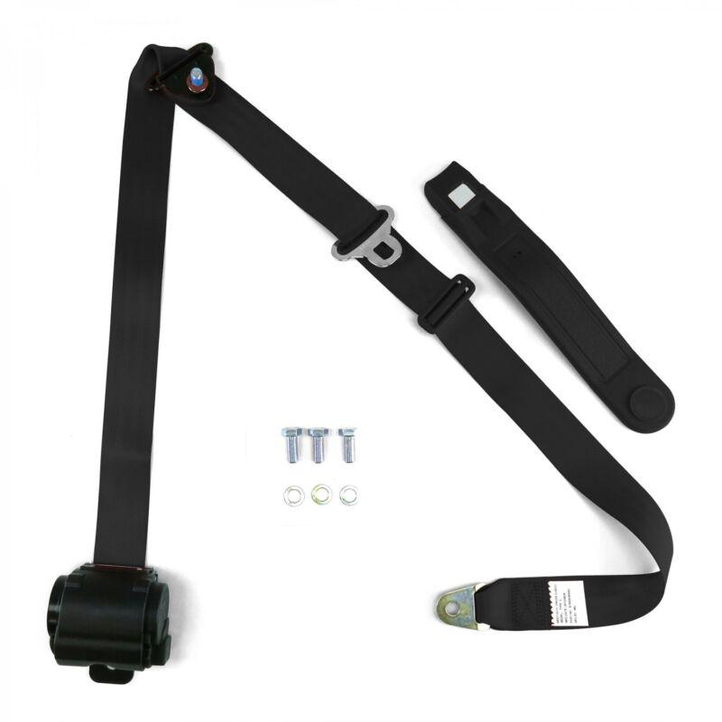 3pt Black Retractable Seat Belt Standard Buckle - Each SafTboy STBSB3RSBK rat