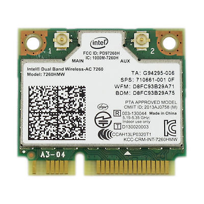 INTEL 7260-AC DUAL BAND WIRELESS AC MINI-CARD 7260HMW-AC WIFI + BT 4.0 COMBO