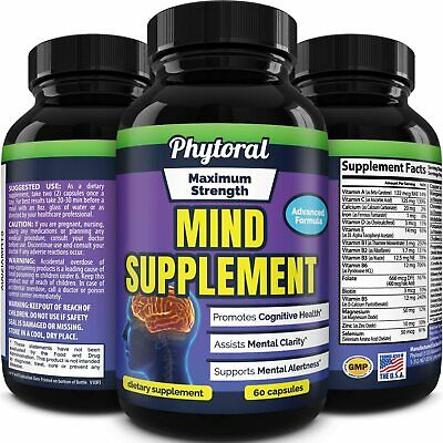 Brain Supplement Memory Focus Pill Neuro Mind Booster Nootropic Vitamin 60ct