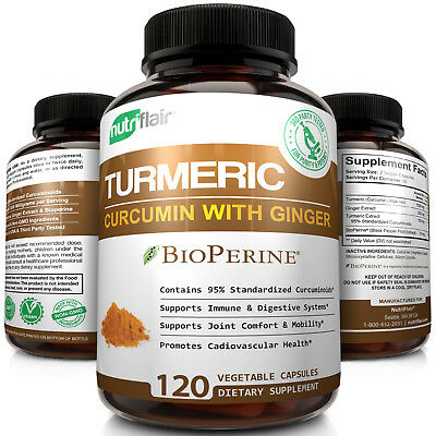▶ #1 Turmeric Curcumin Root with Ginger and BioPerine® 1300 mg, 120 Capsules