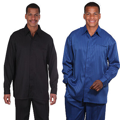 MEN'S  LONG SLEEVE STRIPE WALKING SUIT 2 PIECE DESIGN BY FORTINO LANDI M 2752 - Long Sleeve Striped Suit