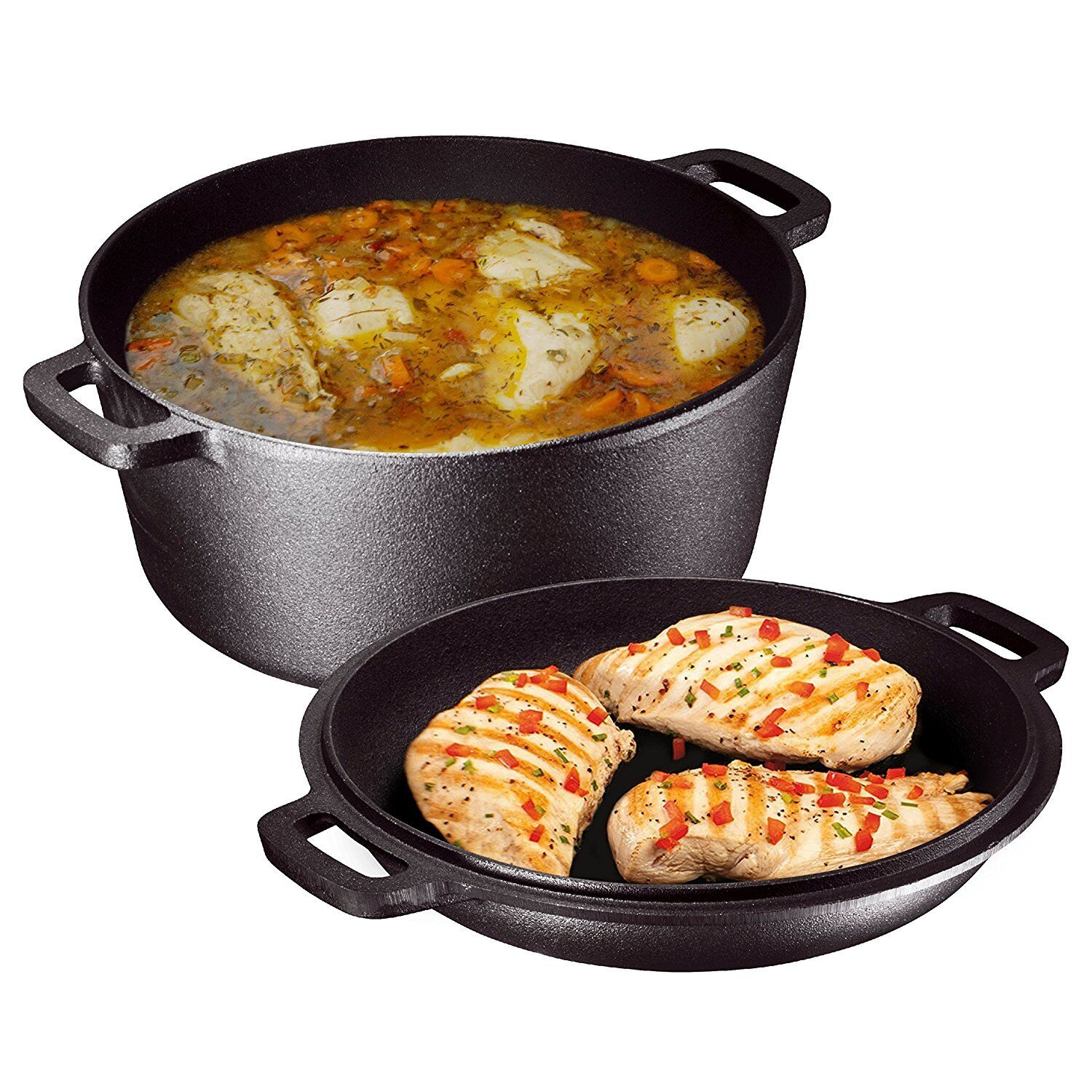 Utopia Kitchen Pre Seasoned Cast Iron Dutch Oven with Dual H