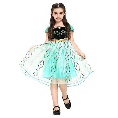 Anna Kostüm-Kleid für Kinder für Karneval, Fasching, Eiskönigin-Partys Anna (Grün Anna Kostüm)