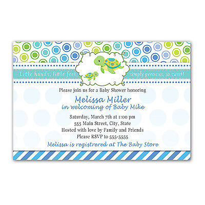 30 Baby Shower Invitations Ocean Sea Turtle Under The Sea Blue Boy Invites - Under The Sea Baby Shower Invites