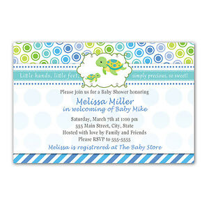 30 Baby Shower Invitations Ocean Sea Turtle Under The Sea Blue Boy Invites A1