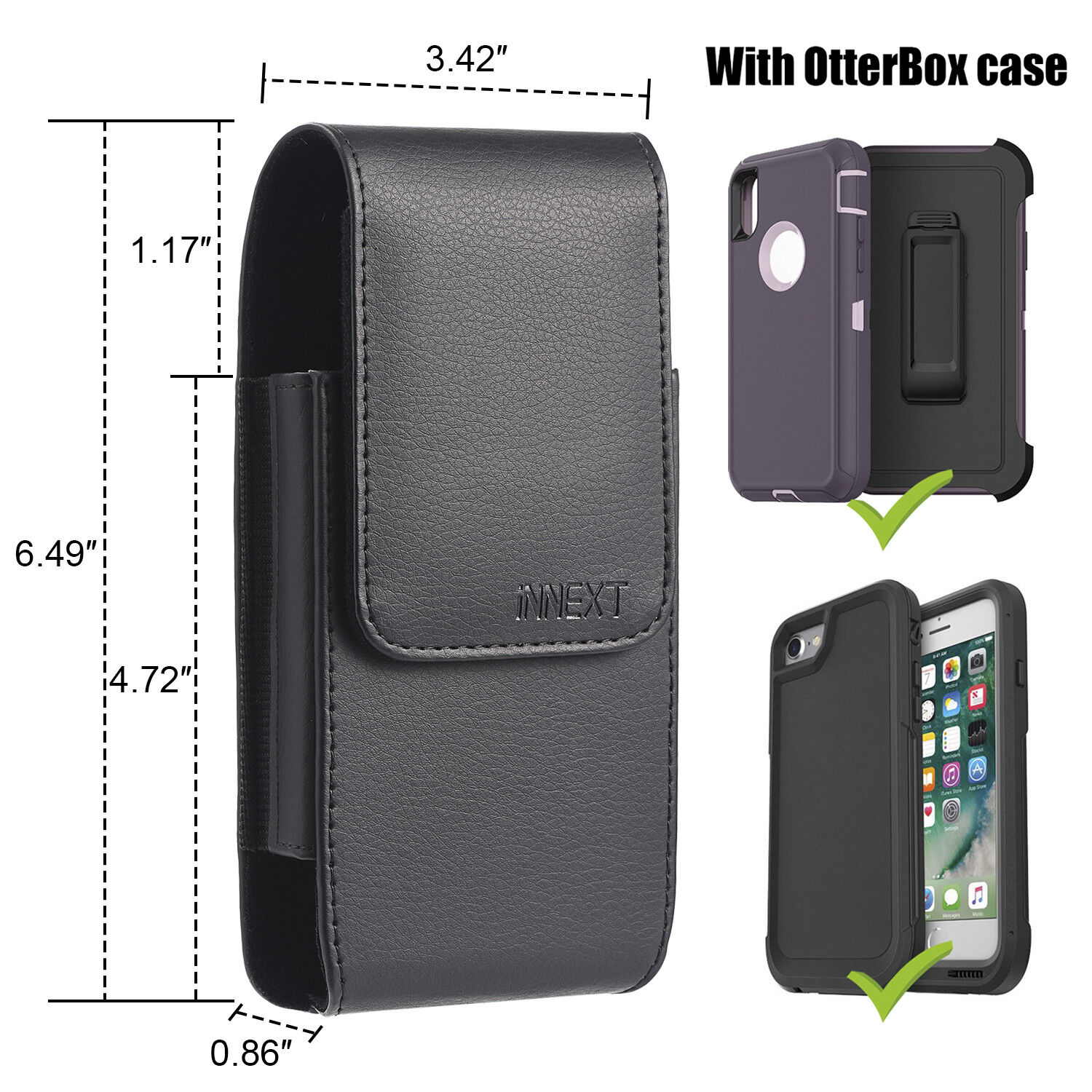 pretty nice a035f 8c71a Details about Vertical Leather Holster Pouch Case for iPhone 6 7 8 Plus XS  Max OtterBox Case
