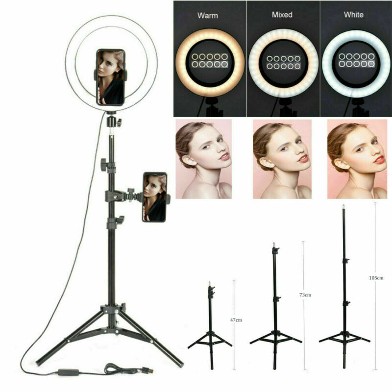 """10"""" LED Ring Light for Youtube Tiktok Makeup Video Phone Selfie -with Stand 1.6M"""