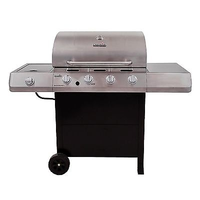 Char Broil Classic 4 Burner Gas Grill Side Burner Barbecue BBQ Stainless Steel