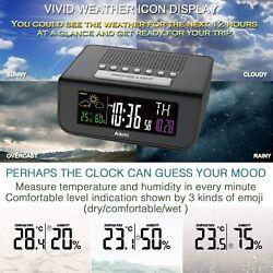 Digita Dual Alarm Clock Radio with USB Charging Port, Temperature, Large Display