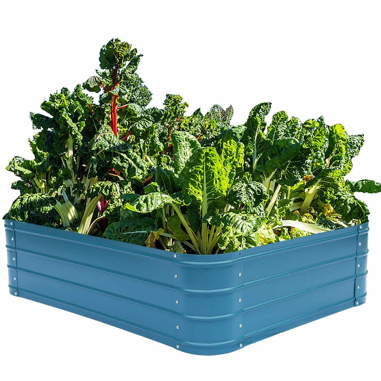 Metal Raised Garden Beds Outdoor Flower Planter Box Galvaniz