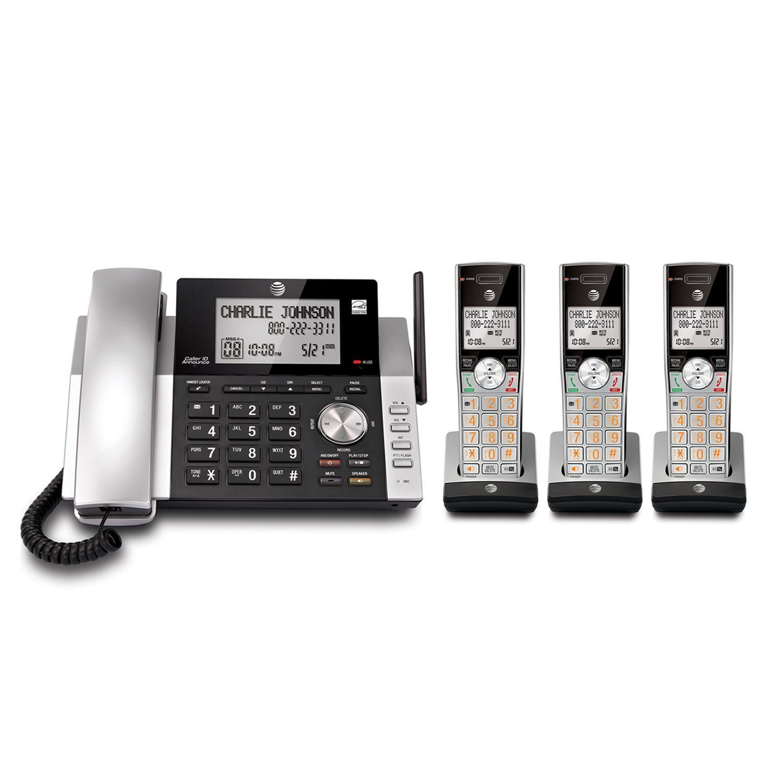 AT&T DECT 6 0 Corded/Cordless 3 Handset Home Phone Answering